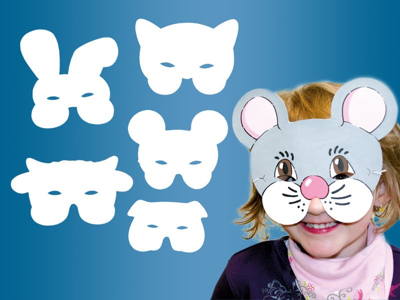 cardboard animal masks assortment white 10 piece